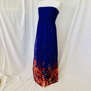 Forever 21 Fire & Ice Strapless Maxi Dress